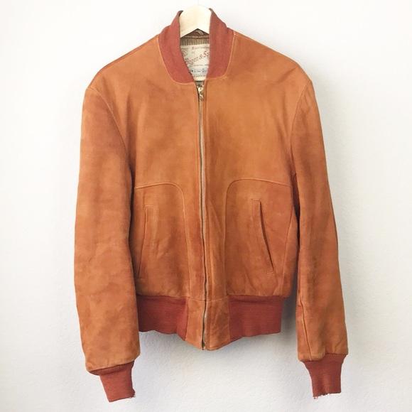 b245b9c1f543 VTG 50s Burnt Orange Suede Leather Bomber Jacket. M 5a4001ea8df4705eda0104a6